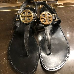 Tory Burch black gold emblem flat sandals